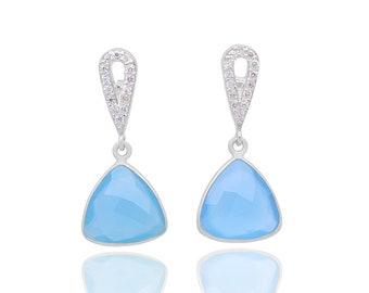 Chalcedony earrings, sterling silver earrings, aqua blue chalcedony, chalcedony jewelry, gemstone earrings, blue earrings, gift for her