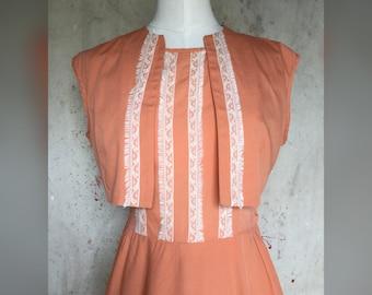 1950s Papaya Cotton Two Piece Dress by Joan Curtis