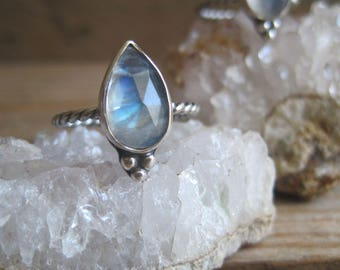 Moonstone Ring, Statement Ring, Stacking Ring, Gift for Her, Cocktail Ring, Sterling Silver Ring, Pear Shape, Rainbow Moonstone, Boho Ring