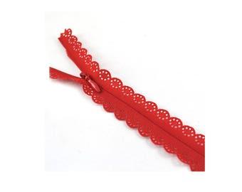 22cm decorative lace red zipper