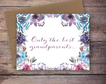 Printable Only the Best Grandparents Get Promoted to Great Grandparents Pregnancy Announcement - Watercolor Flowers - Instant Download Card