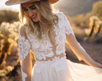 Wedding dress, boho wedding dress, mesh lace wedding dress, chiffon skirt, beach wedding dress, lace sleeve wedding dress, beach wedding
