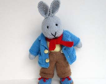 Father Bunny - rabbit doll knitting pattern - INSTANT DOWNLOAD