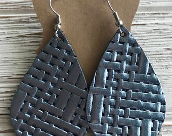 Shiny Metallic Blue Basketweave Leather Earrings. Genuine leather. Lightweight leather earrings.
