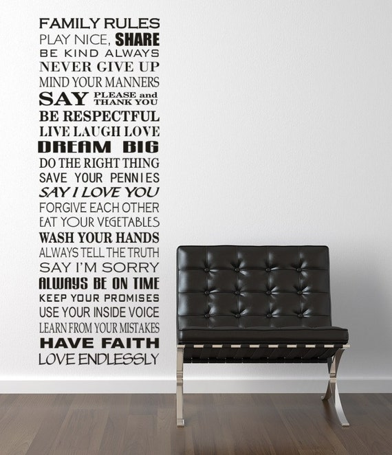 FAMILY RULES Vinyl Wall Decal Sticker Subway Art Style Typography Holiday Christmas Gift