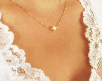 Gold Filled Necklace, Tiny Freshwater Pearl Necklace, Minimalistic necklace, Small pearl link, Simple pearl gold necklace, Necklaces.