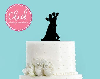 Couple Reading Literary Wedding Bride and Groom Wedding Acrylic Wedding Cake Topper