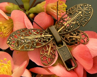 Steampunk Butterfly Zipper Brooch