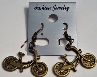 Antique Bronze Bicycle Earrings