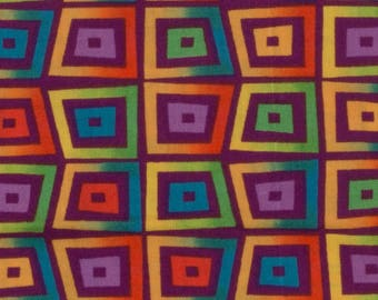Quilt fabric Bright colored cotton Geometric design Has a batik look to it Jewel tone colors 1/2 yard Selling as one piece