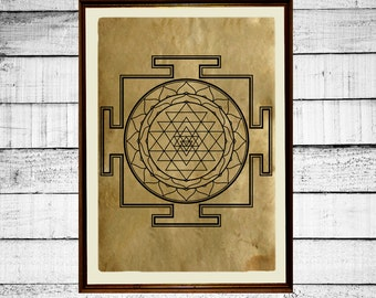 Sri Yantra print, meditation print, tantric poster, mystic print, occult antique tantra print aged paper