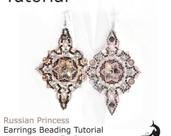 Russian Princess Earrings beading tutorial, Beading pattern, Earrings tutorials and pattern, Earrings on rivoli 14 mm, beadweaving tutorial