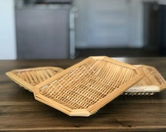 Wicker Trays, Set of 3