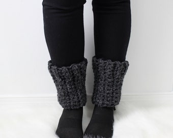 SALE I Knit Ankle Warmers Accessories | THE ELZE  |  Charcoal