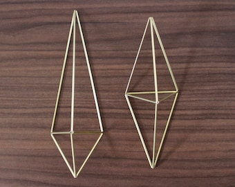 Set of 2 Geometric Himmeli, Air Plant Holder Diamond ,Brass Geometric Ornaments, Minimalist, Scandinavian Mobile, Teardrop