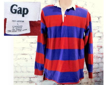 Striped Polo Shirt -vintage Gap Polo -red purple strip Polo- long sleeve Polo, Rugby shirt, stripped Polo - collared knit Polo ,size L, # 90