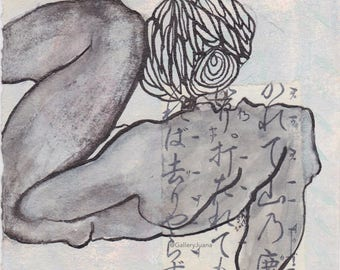 female figure, sumi ink, line drawing, 5x5, Woman I, April 2017
