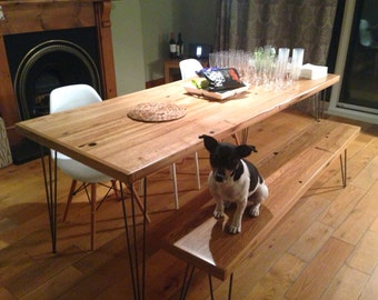 Oak Dining Table - Reclaimed Timber - Hairpin Legs