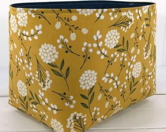 Fabric Basket Storage Basket Storage Bin Nursery Decor Home Decor Office Decor Flowers Dandelion Mustard Gold Navy Blue