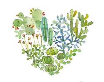 Heart cactus poster, Green cacti succulent watercolor, Cactus love illustration, Green heart poster, Cactus print, Cactus decor, Cute cactus