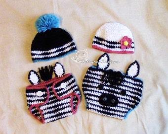 Baby Zebra Diaper Cover, Hat, Headband Set, Photo prop - INSTANT DOWNLOAD Crochet Pattern