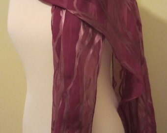 Hand Dyed Silk/Rayon Scarf (Bamboo Design)