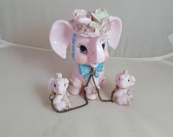 Napco Pink Elephant Mama w/ Babies Figurines GOP Mascot