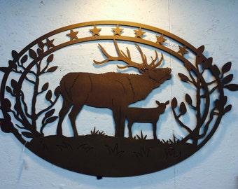 Deer scene 43 x 27