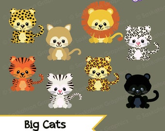 Big Cats Clipart - Instant Download File - Digital Graphics - Cute - Crafts, Web Design, Parties - Commercial & Personal Use - #A003