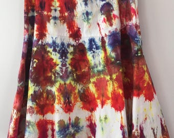 Snow Dyed Tiered Skirt, Size Large