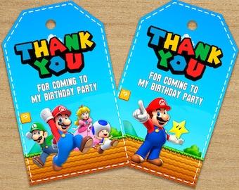 Super Mario Tags, Super Mario Bros Thank You Tags, Mario Party Tags, Birthday Super Mario Brothers Tags, Super Mario Labels, Super Mario Tag