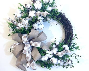 Cotton Boll Front Door Wreath, Southern Style farmhouse Wreaths, Preserved Cotton Boll Year Round Wreath