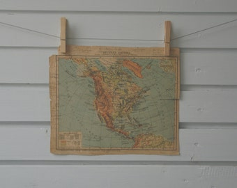 1930's Vintage North America Map