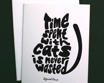 Cat Card, Cat Greeting Card, Sigmund Freud, Cat Lady Gift, Cat Lover Gift, Crazy Cat Lady, A2 Greeting Card