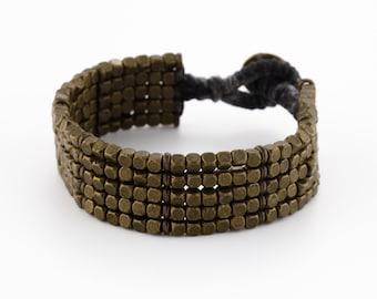 Wide Brass Bracelet. tribal jewelry. boho bracelet. boho jewelry. beaded bracelet. rustic jewelry.  bohemain bracelet. tribal bracelet.