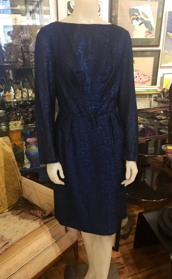 "Vintage 1960s Blue Lurex Dress Small 27"" Waist"
