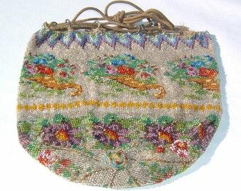 1800s Floral Micro-Beaded Reticule Pinwheel Shaped Purse
