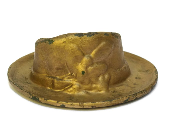 Antique French Hat Ashtray in Cast Iron Created by Roux Foundry in Lyon.