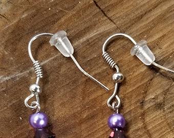 Purple Swarovski Pearl and Crystal Earrings