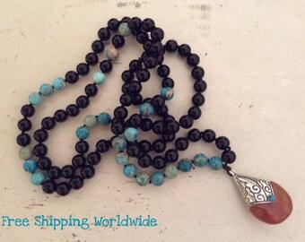 Knotted Jasper Mala, Onyx Mala, Yin and Yang Energy Necklace, Spiritual Mala, Yoga Jewelry, Healing Beads, Japa Mala, Yoga Necklace, Peace