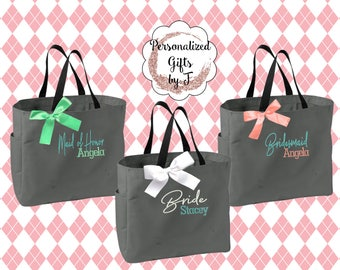Personalized Bridesmaid Gift Tote Bags Embroidered Tote Monogrammed Tote Bridal Party Gift Bridesmaid Tote Bags Wedding Day Tote Bags
