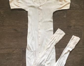 Vintage 50s short sleeve Union Suit / onesie / long johns / antique underwear / 36 / small