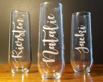 Personalized Stemless Champagne Flute - Etched - Bridesmaid/Wedding Party/Maid of Honor Gift
