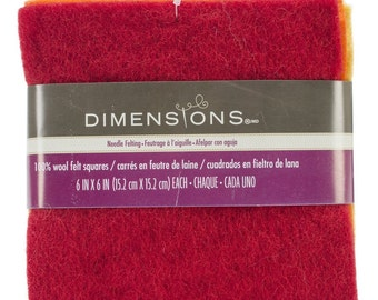 DIMENSIONS wool felt squares -1 ea. red, orange,yellow, lime, teal, purple