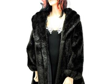 Faux fur coat / size M 8 / 12 / vintage 80s faux mink coat / black faux fur coat / 1980s Monterey Fashions USA
