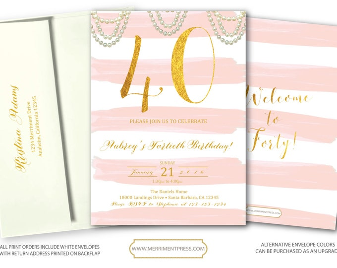 Blush Pink Gold 40th Birthday Invitation // Fortieth Bithday // Pink Stripes // 40 // Watercolor // Gold Foil // SANTA BARBARA COLLECTION