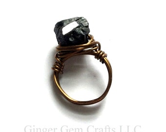tourmaline ring, black tourmaline, raw black tourmaline, tourmaline jewelry, raw jewelry, raw stone, raw crystal, black ring, stone ring