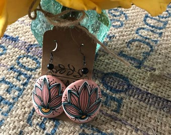 Extra Large Round Contured Porcelain Earrings with Handpainted Lotus Design on Coral