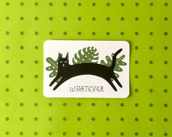 Screenprinted Postcard - Whatever Cat