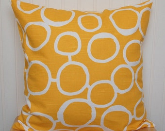 Yellow Geometric Pillow Cover, Yellow Throw Pillow, Yellow and White Throw Pillow Cover, 18x18 Inch Yellow Cushion Cover